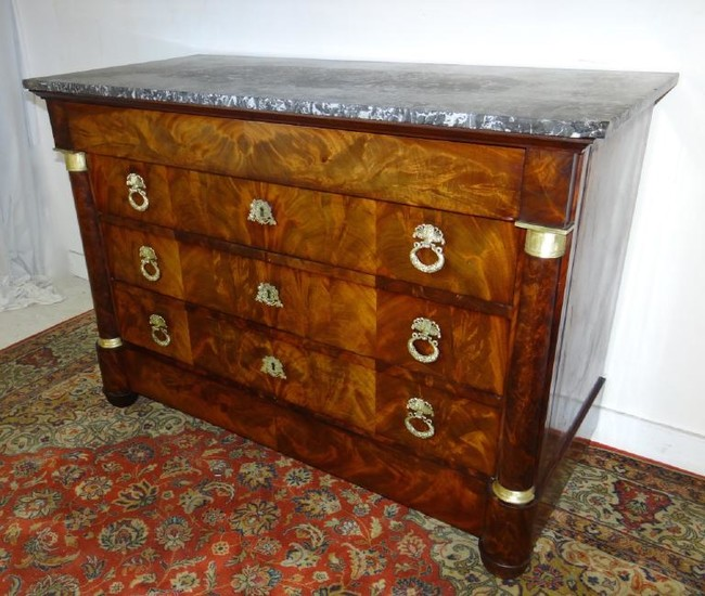 19TH C. FRENCH EMPIRE MARBLE TOP COMMODE