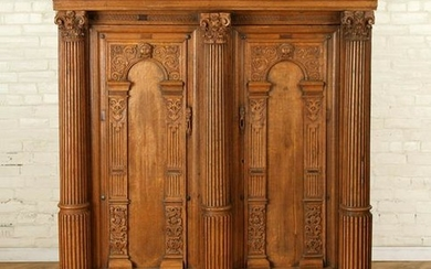 19TH C. OAK CABINET FLUTED COLUMNS BIRD CARVINGS