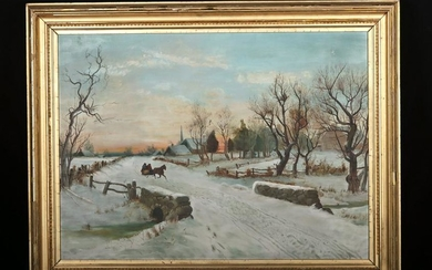 19th C. American Painting - Winter Sleigh Ride (framed)