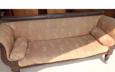19th C mahogany framed three seat settee with scroll arms, c...