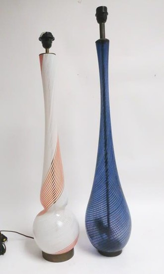 2 Italian Murano Spirally Blown Glass Lamps