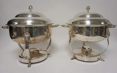 2 LARGE SILVER PLATED COVERED SERVING DISHES