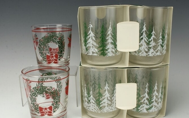 2 SETS OF CHRISTMAS GLASSES & 2 WREATH GLASSES