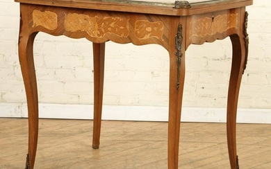 FRENCH BRONZE MOUNTED INLAID FLIP TOP GAMES TABLE