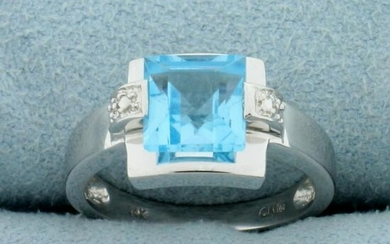 2ct Swiss Blue Topaz and Diamond Ring in 14K White Gold