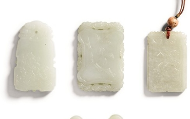 A STUDY GROUP OF FOUR JADE PLAQUES LATE QING DYNASTY   晚清 青白玉珮一組四件