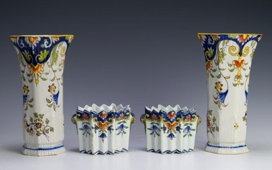 (4) French Rouen Faience Cachepots & Vases