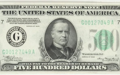 $500 DOLLAR 1934 SERIAL , FEDERAL RESERVE NOTE