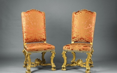 A pair of Roman carved walnut chairs