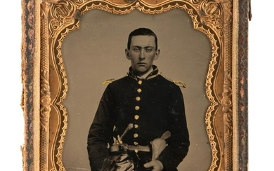 Extremely Clear Sixth Plate Tintype of Double-Armed