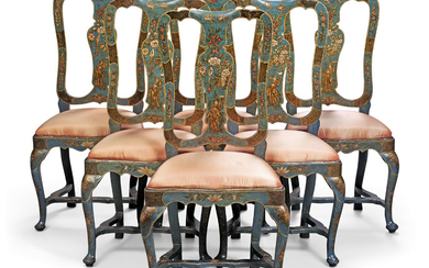 A SET OF SIX NORTH ITALIAN CHINOISERIE PARCEL-GILT, BLUE AND POLYCHROME-DECORATED 'LACCA' SIDE CHAIRS, VENETO, MID-18TH CENTURY