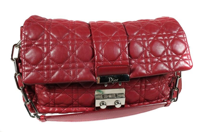 """CHRISTIAN DIOR, """"Cannage"""" Quilted Red Leather Bag"""