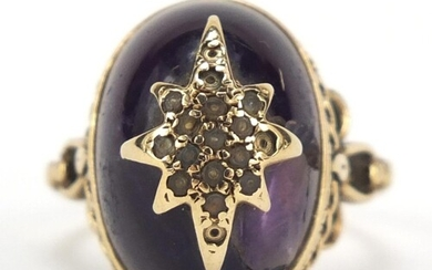 9ct gold cabochon amethyst ring with scrolled and pierced sh...