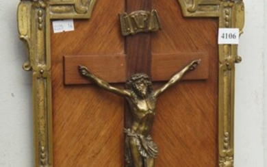 A 19TH CENTURY FRENCH BRONZE AND KINGWOOD RELIGIOUS CRUCIFIX PLAQUE