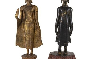 A BRONZE AND A WOOD FIGURE OF STANDING BUDDHA SHAKYAMUNI, Thailand - h. 48,5-50,5 cm