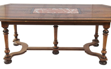 A CONTINENTAL OAK AND MARBLE INSET DINING TABLE 19TH CENTURY