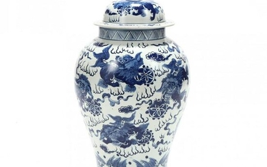 A Chinese Blue and White Ming Style Temple Jar with
