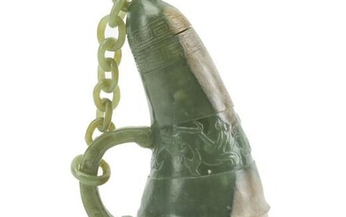 A Chinese carved nephrite jade handled vessel