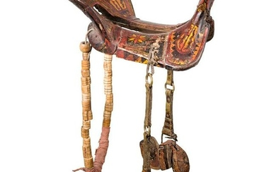 A Chinese painted saddle with stirrups, 19th century