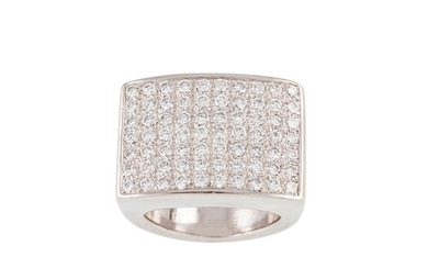 A DIAMOND CLUSTER RING BY PIAGET, the pavé set panel mounted...