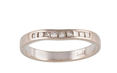 A DIAMOND HALF HOOP RING, with channel set princess cut diam...