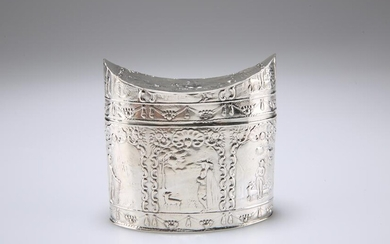 A DUTCH SILVER TEA CADDY, import mark, Samuel Boyce (or