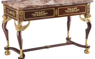 A French Gilt Bronze Mounted Center Table with Marble Top[ (18th-19th century)