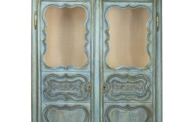 A French Provincial Style Painted Armoire Height 84 x