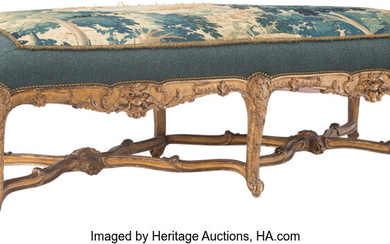 A French Regece-Style Carved Giltwood Aubusson Upholstered Bench (19th century)