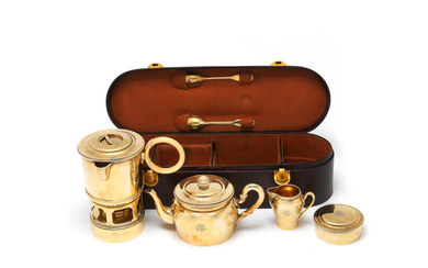 A French silver-gilt travelling tea service