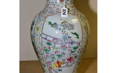A MODERN CHINESE FAMILLE ROSE BALUSTER VASE, painted with fo...