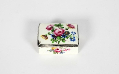 A Mennecy silver-mounted snuff box c.1750, the rectangular...