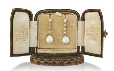 A PAIR OF CULTURED PEARL AND DIAMOND EARRINGS...