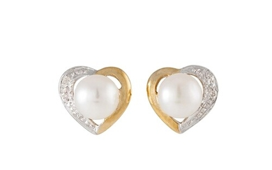 A PAIR OF DIAMOND AND PEARL CLUSTER EARRINGS, love heart mot...