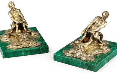 A PAIR OF SILVER-GILT SALT-CELLARS SHAPED AS DOOR KNOCKERS, FRANCE, CIRCA 1860 | PAIRE DE SALIÈRES EN VERMEIL EN FORME DE HEURTOIR, FRANCE, VERS 1860