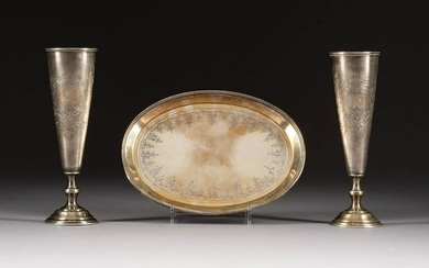 A PAIR OF SILVER VODKA FLUTES ON A TRAY Russian