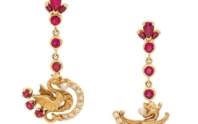 A Pair of 14 Karat Yellow Gold, Ruby, Diamond and Seed