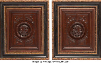 A Pair of Continental Carved Wood Portraits (19th century)