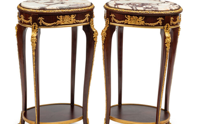 A Pair of Louis XV Style Gilt Bronze Mounted Marble-Top Side Tables