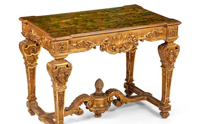 A Régence Style Chinoiserie Decorated Giltwood Center Table