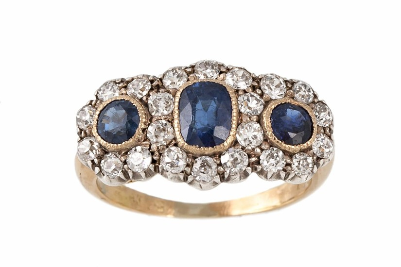 A SAPPHIRE AND DIAMOND TRIPLE CLUSTER RING, with sapphires o...