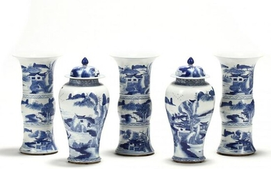 A Set of Five Chinese Blue and White Porcelain