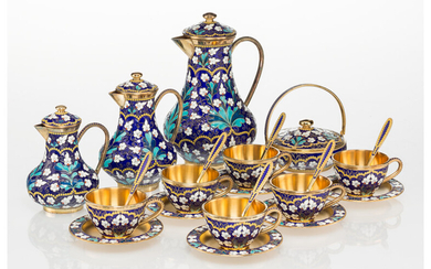 A Twenty-Two-Piece Soviet-Era Russian Partial Gilt and Cloisonné Enameled Silver Coffee and Tea Service in Original Fitted Case (circa 1980)