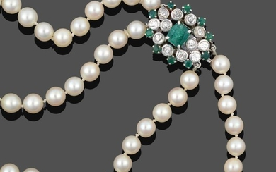 A Two Row Cultured Pearl Necklace, the 63:67 cultured pearls...