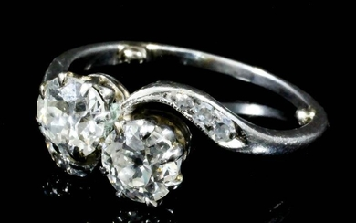 A Two Stone Diamond Crossover Ring, Early 20th Century,...