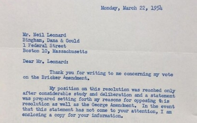 A Typed Letter Signed regarding the Bricker Amendment. With candid photo from 1961.