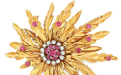 A VINTAGE RUBY AND DIAMOND FLOWER SPRAY BROOCH set with