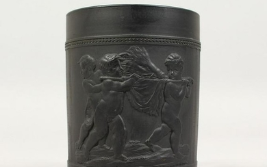 A WEDGWOOD BLACK BASALT MUG, with cupids carrying a