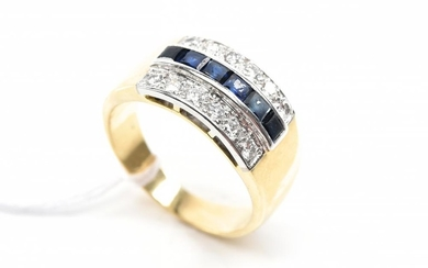 A WIDE SAPPHIRE AND DIAMOND BAND IN IN 18CT TWO TONE GOLD, RING SIZE N½