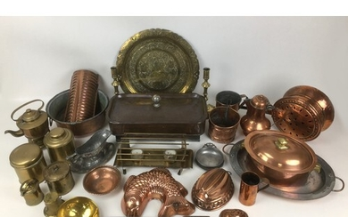 A collection of copper, brass, and metal wares, including fi...